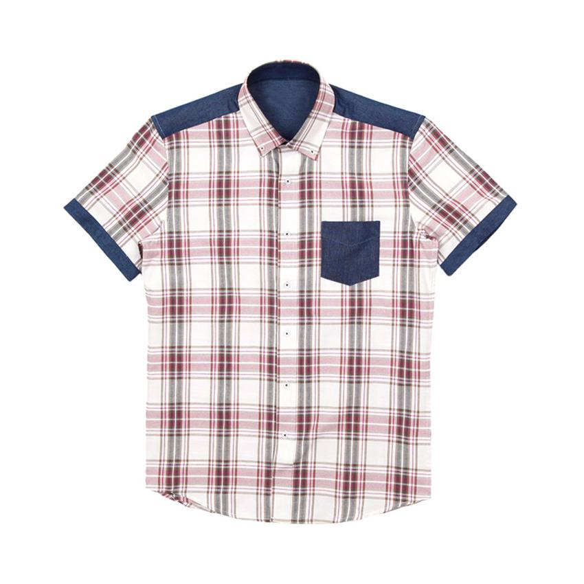도매카페, 데님 포인트 체크 남자반팔셔츠 J0417014, 패션의류 > 남성의류 > 셔츠/남방 > 체크 셔츠