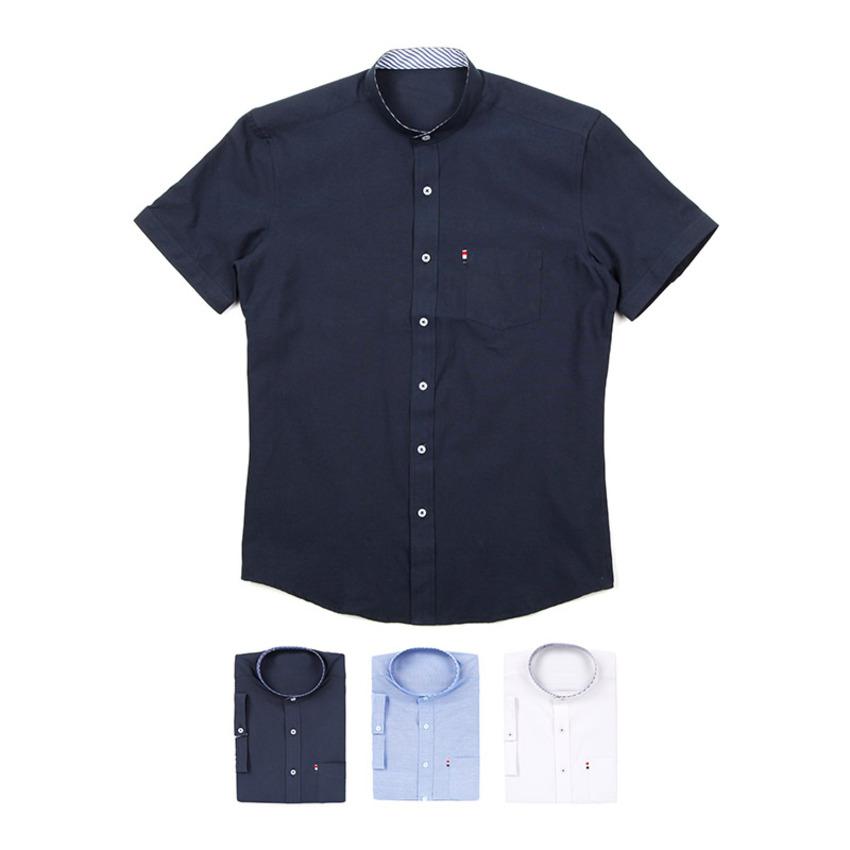 도매카페, 차이나카라 포켓 남자반팔셔츠 J0417020, 패션의류 > 남성의류 > 셔츠/남방 > 솔리드 셔츠