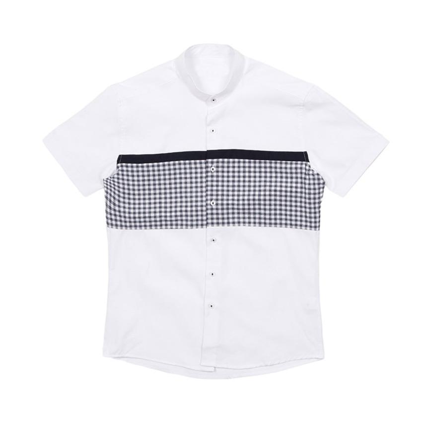 도매카페, 차이나카라 체크 배색 남자반팔셔츠 J0417024, 패션의류 > 남성의류 > 셔츠/남방 > 체크 셔츠