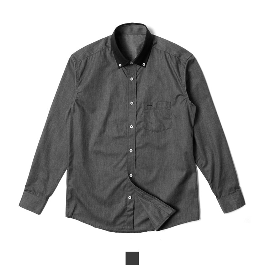[현재분류명],180402GFAPP-2338 남자남방 카라배색 블랙 슬림핏 도트 셔츠 J0418005,남자셔츠,캐주얼셔츠,슬림핏셔츠,캐주얼남방,남자남방,남자봄셔츠,남자셔츠코디,배색셔츠,카라배색셔츠,블랙셔츠