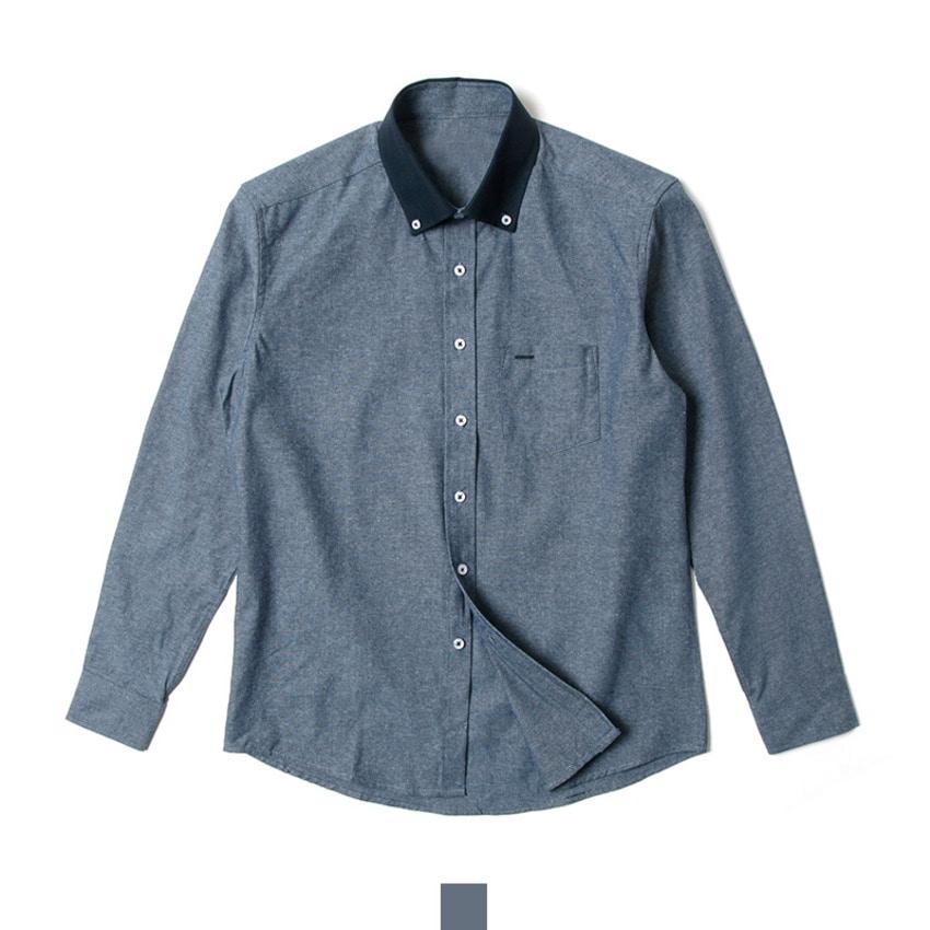 [현재분류명],180402GFAPP-2339 남자남방 카라배색 네이비 슬림핏 도트 셔츠 J0418006,남자셔츠,캐주얼셔츠,슬림핏셔츠,캐주얼남방,남자남방,남자봄셔츠,남자셔츠코디,배색셔츠,카라배색셔츠,네이비셔츠