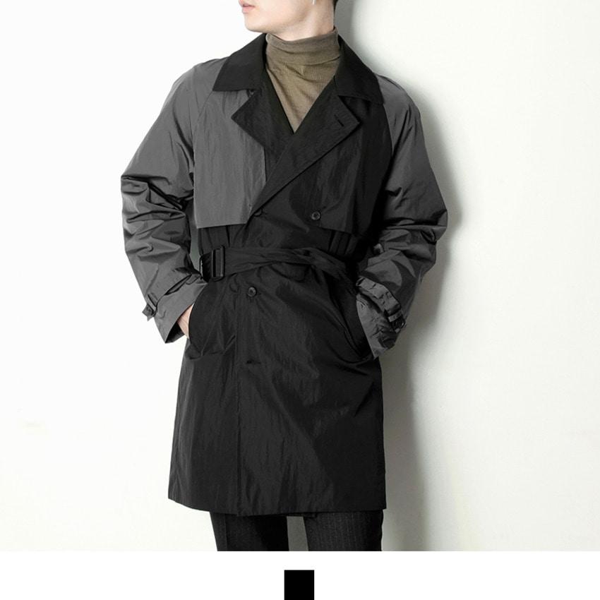 도매카페, 블랙 배색 남자 트렌치코트 A0218020, 패션의류 > 남성의류 > 코트 > 트렌치 코트